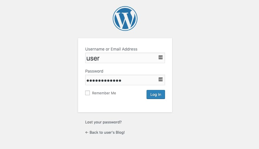 WordPress Login Screen.