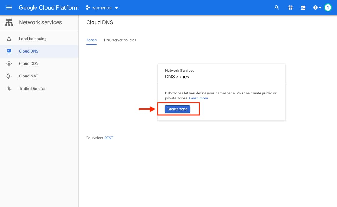Google Cloud Create Zone