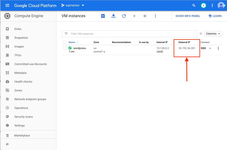 Get External IP of Google Compute Engine Instance