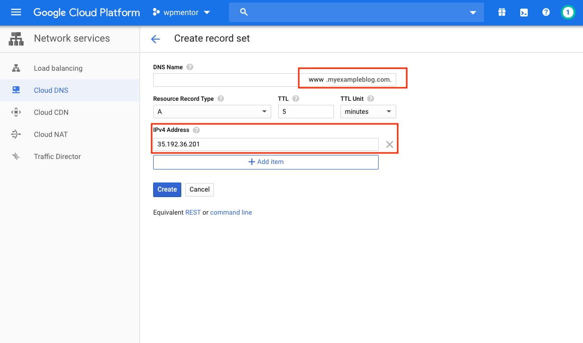 Google Cloud Create Record Set