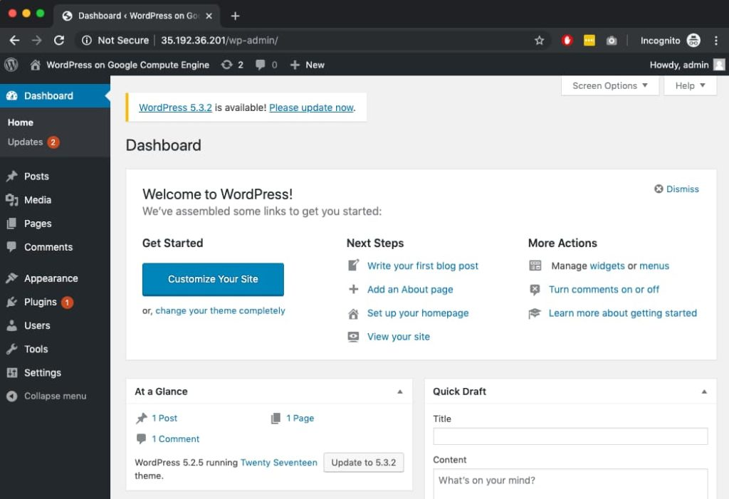 WordPress on Google Cloud dashboard.