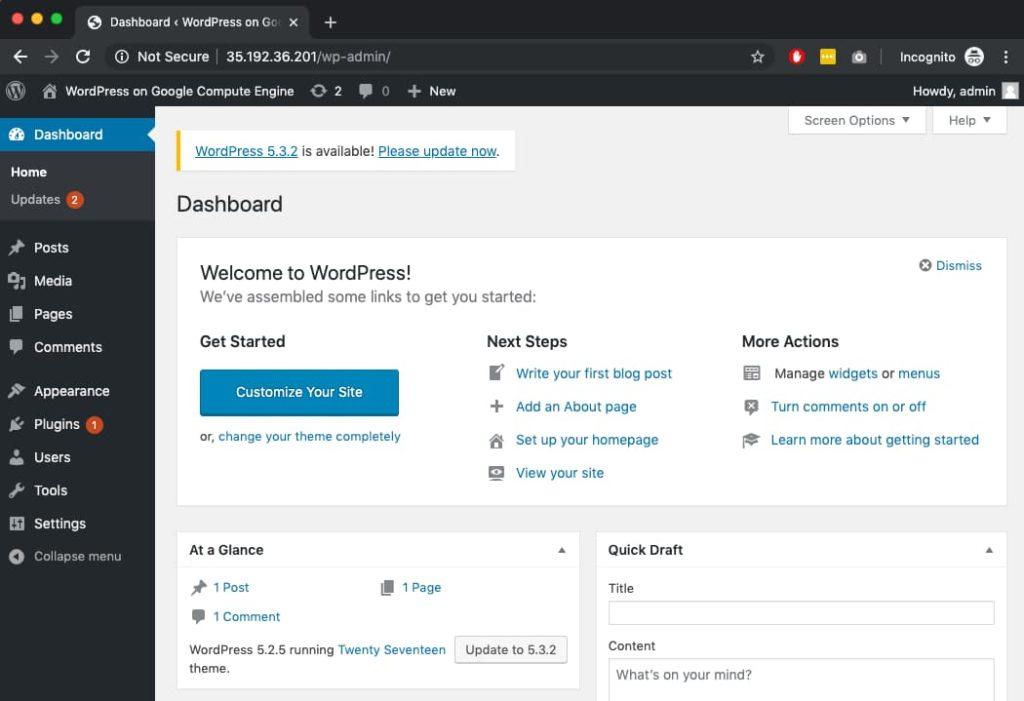 WordPress on Google Cloud dashboard.
