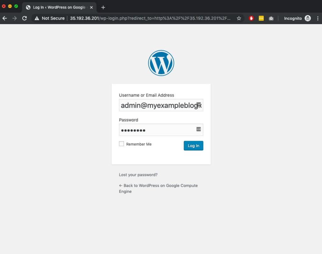 WordPress on Google Cloud Login Screen