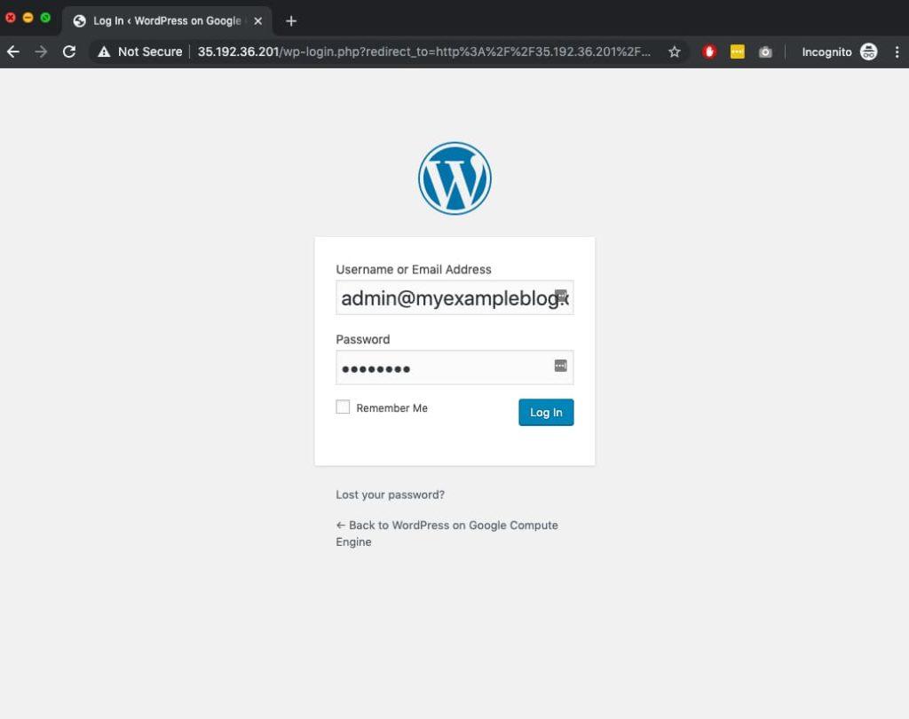 WordPress on Google Cloud Login Screen
