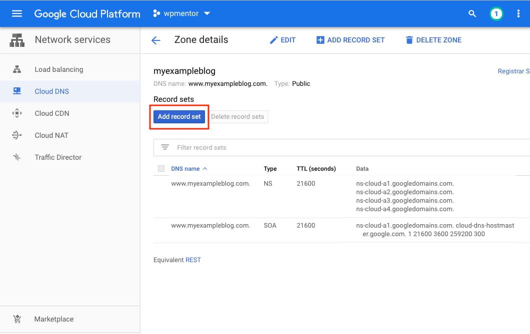 Google Cloud Add Record Set in DNS Zone