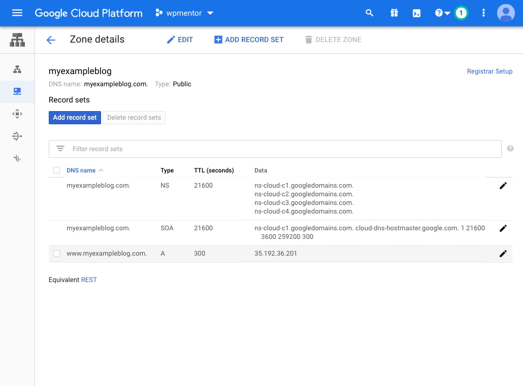 Google Cloud Zone Details