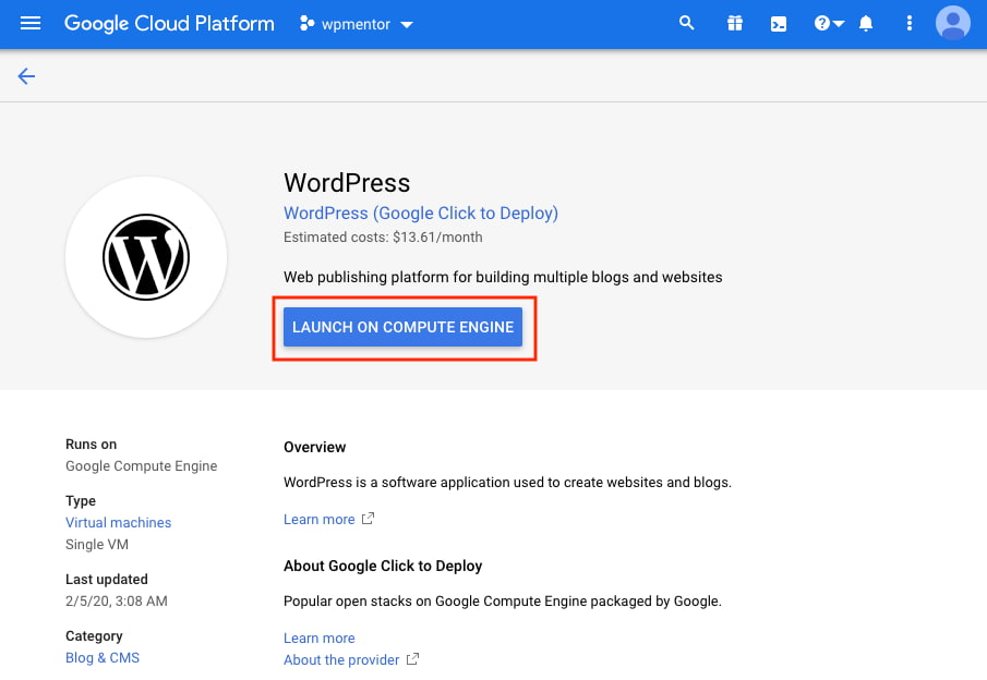 Google Click to Deploy WordPress