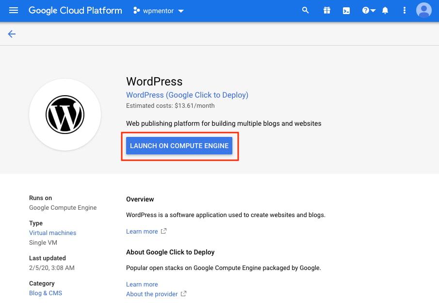 Google Click to Deploy WordPress