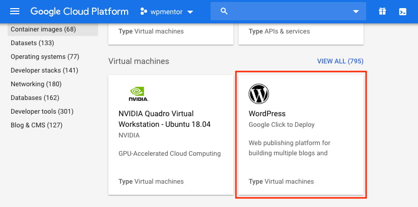Google Cloud WordPress Click to deploy