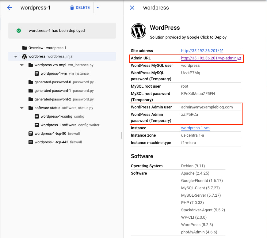 Google Click to Deploy WordPress Credentials