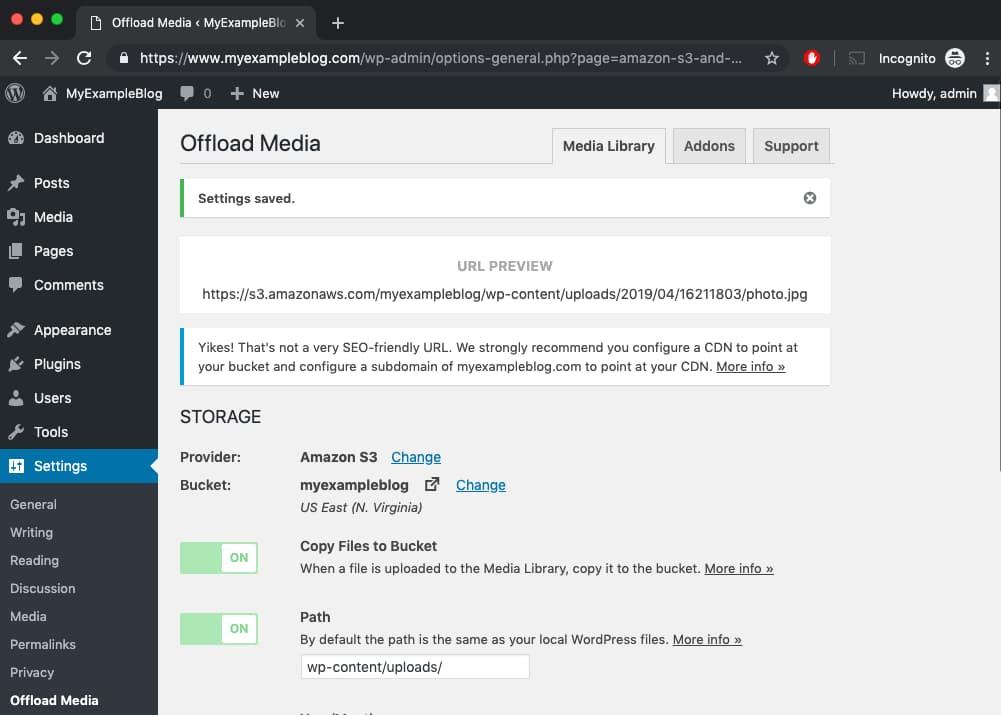 WP Offload Media Setting