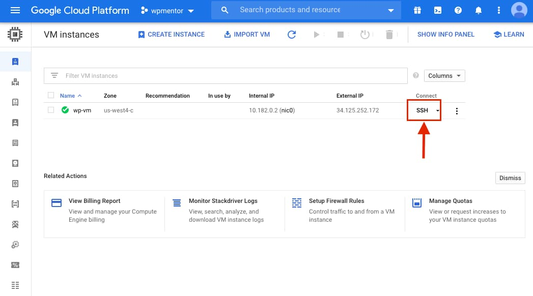Google Cloud Connect WordPress instance with ssh