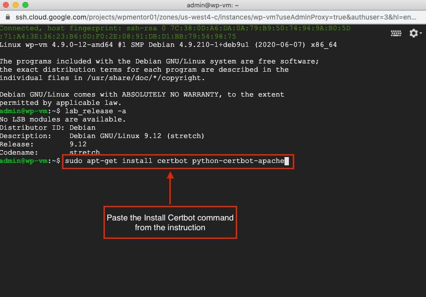 Google Cloud SSL certbot command.