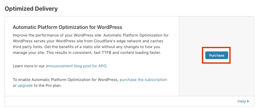 purchase cloudflare Automatic Platform Optimization  for WordPress
